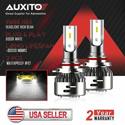 White FANLESS 9005 HB3 LED Headlight Cree Kit High Beam Bulbs 6000K 9000LM QC1