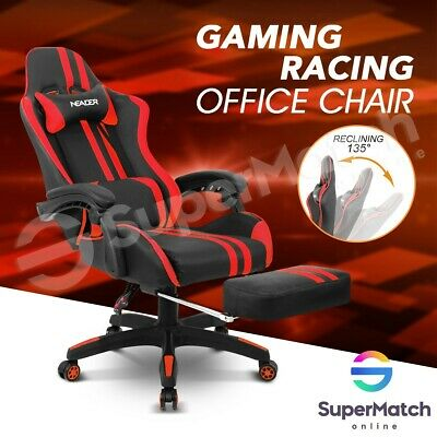 Ergonomic Office Chair Reclining Chair Game Racing Cumputer Seat w/Footrest Red