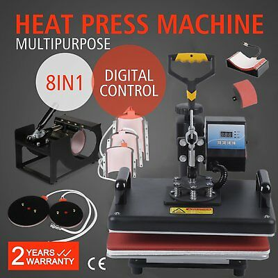 8 in 1 Heat Press Machine Transfer T-Shirt Mug Hat Sublimation Printer BN