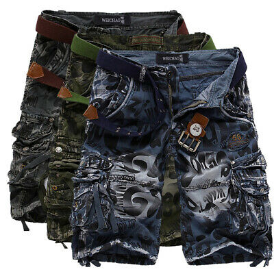 Mens Cargo Shorts Long Cotton Print Military Combat Camo Army Knee Length Pants