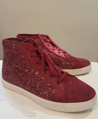 Clarks Girls Ladies Glitter Burgandy Suede zip lace Hi Top Trainers Size UK 5 G