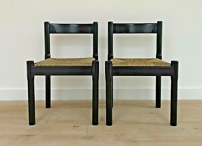 Vintage Mid-century Carimate dining chairs x 2 Vico Magistretti Cassina Italy 60
