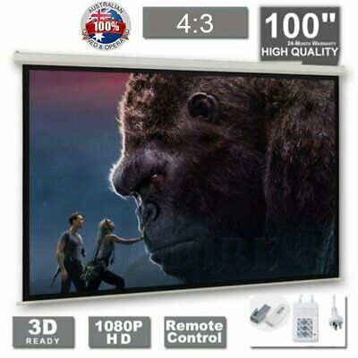 """100"""" Inch Electric Motorised Projector Screen Home Theatre HD TV Projection 3D ^"""