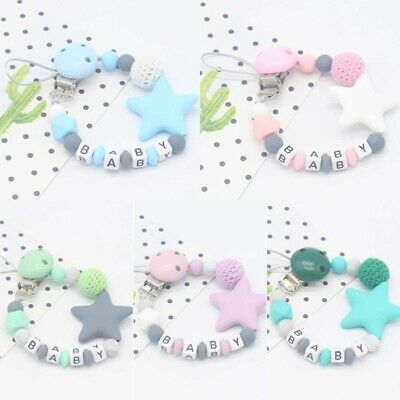 New Pacifier Clips Soother Teething Baby Teether Chain Strap Bead Dummy Holders