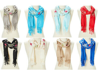 Scarf Shawl Wrap Lightweight Floral Acrylic Women Scarf Embroidered Women Stole