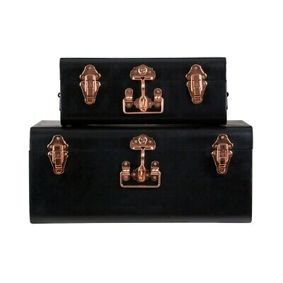 Black Storage Trunks - Set of 2