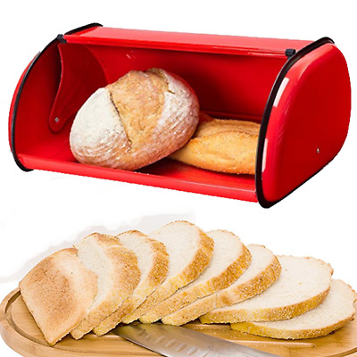 Bread Bin Storage Box Fresh Keeper Food Container Stainless Steel Roll up Lid #1