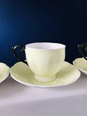 Queen Anne Fine Bone China set of 4 Cups and Saucers Lemon/Lime and Green Ex