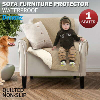 Couch Sofa Cover Removable Quilted Slipcover Pet Kids Protector With Strap Khaki