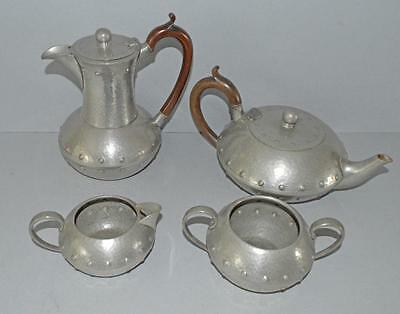 Old Arts and Crafts Style English Hand Planished Pewter Tea Set by AM + Co.