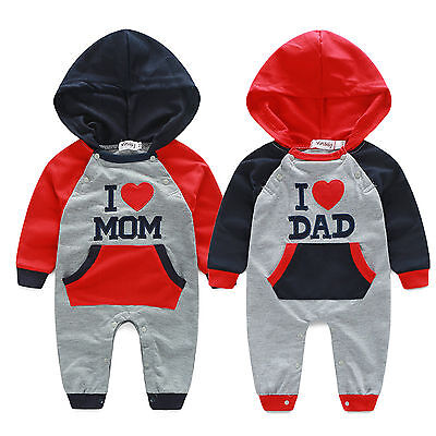 Newborn Baby Boy Girl Hooded Romper Bodysuit Jumpsuit Playsuit Outfits Clothes