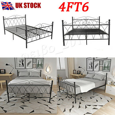 Modern 4FT6 Double Classic Metal Bed Frame Bedstead In Strong Structure BedFrame
