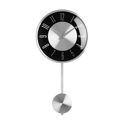 Silver with Black Face Pendulum Wall Clock