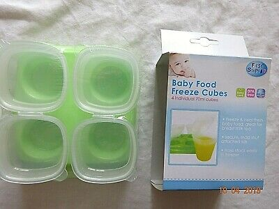 First Steps 4 Baby Weaning Food Freezing Cubes Pots Freezer Storage Container