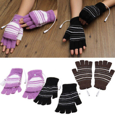 USB Heated Gloves Winter Thermal Hand Warmer Electric Heating Knitting Glove AU