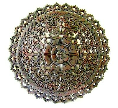 """Teak Wood Wall Carving Round Flower Thai Carved Wooden Plaque Relief Panel  23"""""""