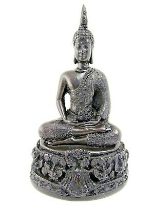 Black Buddha Statue Sitting Meditating Resin Sculpture Thai Home Decoration 6""