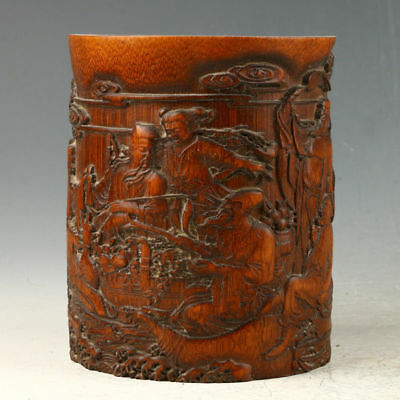 Chinese Exquisite Bamboo Hand Carved Eight Immortals Brush Pot