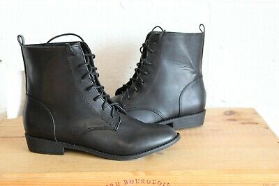 66c60ca785b2 Black Faux Leather Ankle Boots Military Style Size 4 37 By H & M New With