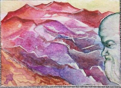 ACEO watercolor PAINTING fantasy Ruby Mountain Dwarf original Dora Pilssala