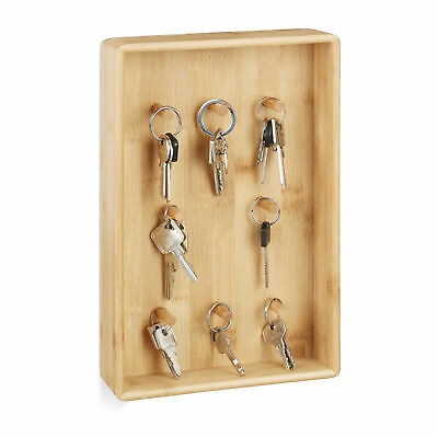 Bamboo Key Rack with 8 Hooks, Key Manager and Organiser, Natural Wall Box