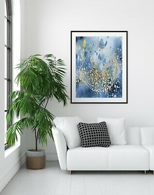 Wall Art Print Watercolour, Blue and Gold, Abstract,  Modern Art, Home Decor