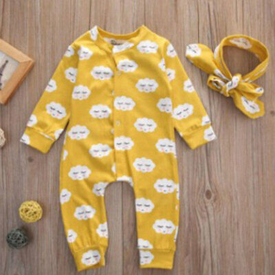 Newborn Infant Baby Boys Girls Romper + Hair Band headscarf Outfit Clothes Kit