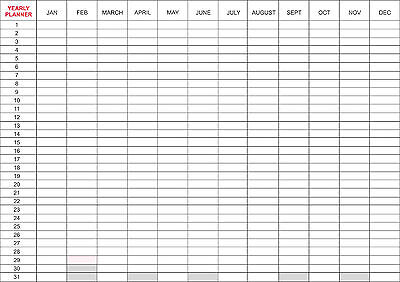 Dry Wipe Laminated YEARLY PLANNER Office Organiser - A2, A1, A0 sizes