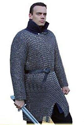 Butted Chainmail Shirt Extra Large Size Full Sleeve Medieval Hubergion Shirt