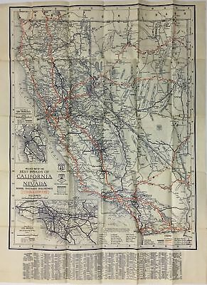 George S Clason / Mileage Map of the Best Roads of California and Nevada 1920