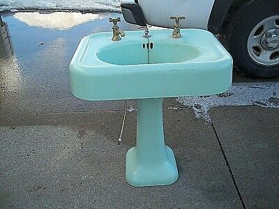Antique Vintage Porcelain Cast Iron Green Pedestal Bathroom Sink