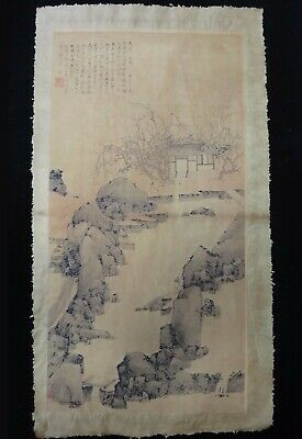 Very Large Old Chinese Fine Paper Painting Beautiful Landscape Marks