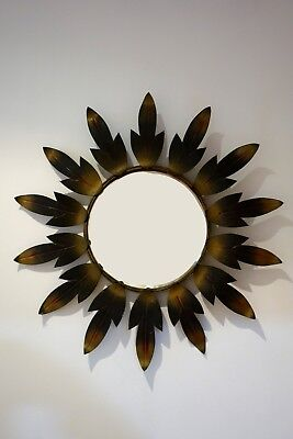 Espejo vintage sol metal hojas 60's sunburst mirror metal sunburst leaves