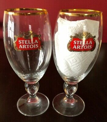 Set of 2 STELLA ARTOIS Chalice Belgium Beer Glass/Glasses (40cl/13.5oz)