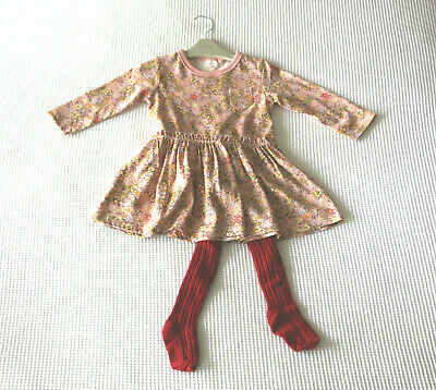 Next Baby Girls Pink Floral Print Dress & Burgundy Tights  Age 9-12 Months BNWT