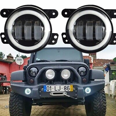 Coppia Fog Light Fendinebbia Led Angel Eyes Jeep Wrangler Cherokee Dodge