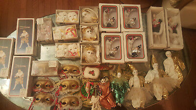 VTG 30 PIECE LOT KURT S ADLER CERAMIC XMAS ORNAMENT 1980s / THEATER / MARDI GRAS