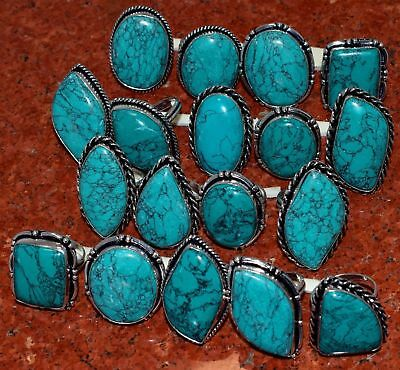 Turquoise Stone & Mix Design Wholesale Lot .925 Sterling Silver Plated Rings