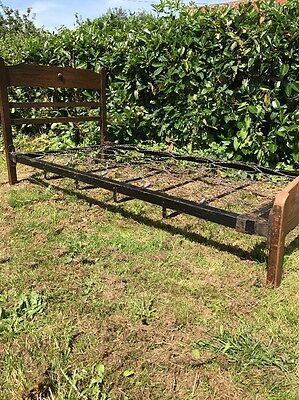 Vintage Antique Wooden Single Bed With Sprung Base yurt camping Cottage Chic