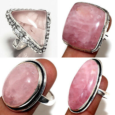 5 To 200pcs Rose Quartz Rings Wholesale Lots .925 Silver Plated Handmade Rings