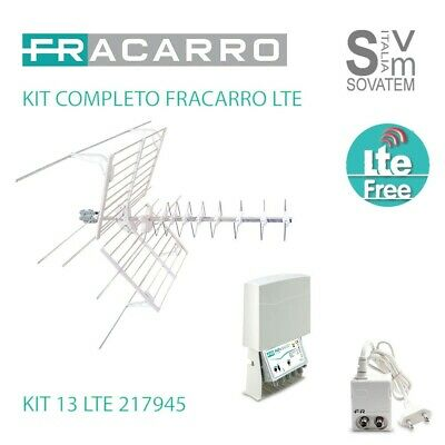 Kit Completo Antenna Tv Fracarro Kit-13 Evo Lte 21745 Blucombo+Map2R3U Minipower