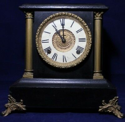 """Antique Rare Complete  Mantle Clock For Restoration/Projects 11"""""""