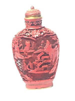 Authentic 19Thc Chinese Carved Red Cinnabar Lacquer Ssigned Snuff Bottle