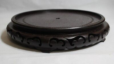 "Fine Xtra Large Chinese Antique Carved Wood Stand Base Vase Bowl10"" Lot# 605"