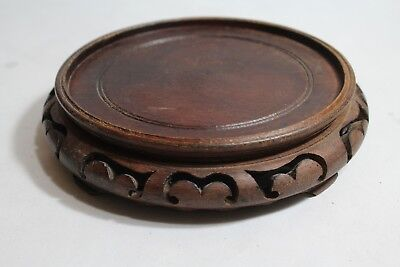 """FINE CHINESE ANTIQUE CARVED WOOD STAND BASE VASE BOWL 6"""" Dia. LOT#565"""