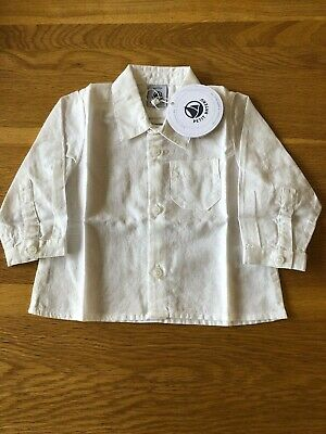 Petit Bateau Brand New with Tags White Linen Long Sleeve Boy Shirt Size 18 Month