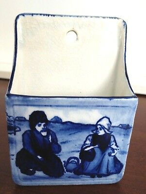 Antique Blue Delft Match Holder Wall Plaque With Figures of  Man And Woman