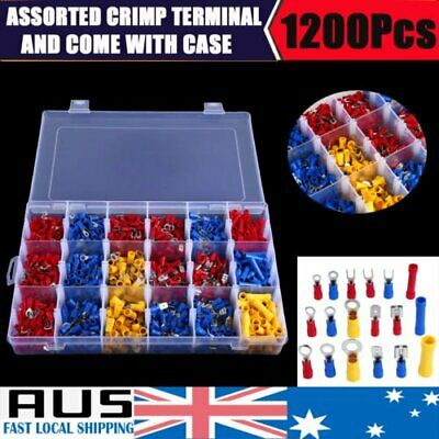1200Pcs Assorted Insulated Electrical Wire Terminal Crimp Spade Connector Kit AU