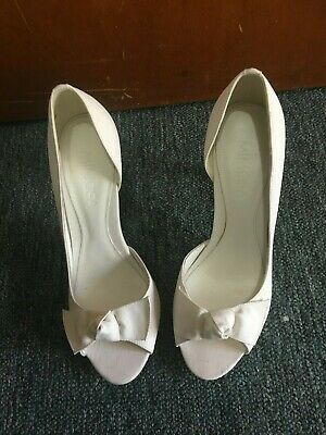 Mimosa White Wedding Shoes Womens High Heels Sz 7 Worn Once (Sb17)