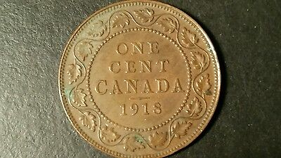1918 George V Canadian Large Cent - Great Detail For 98 Year Old Coin!